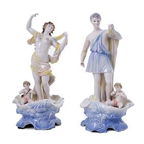 Парные статуэтки мануфактуры MORIYAMA, 30.5 см