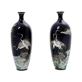 Миниатюрные японские вазы клуазоне, 15.5 см