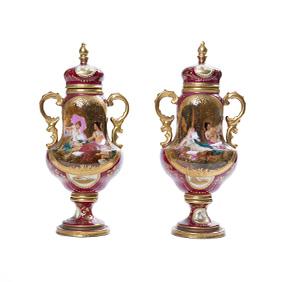 Парные бардовые вазы в стиле Royal Vienna, 27 см