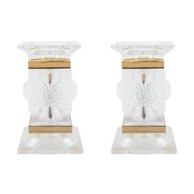 """Пара хрустальных подсвечников Lalique """"Paquerettes"""", 13 см"""