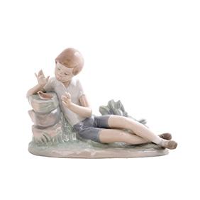 """Статуэтка Lladro """"Мальчик и птица на камне"""", 16 см"""