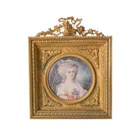 Миниатюрный портрет светской дамы на фарфоре, 12.5 см