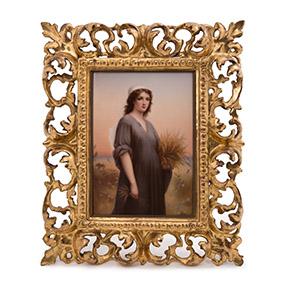 Портрет беременной девушки на фарфоровой пластине, 21.5 х 14.3 см