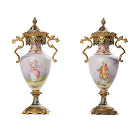 Небольшие французские вазы со вставками в технике Champlevé, 19.5 см