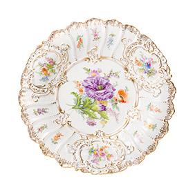 Фарфоровое блюдо Meissen с цветами, 29.8 см