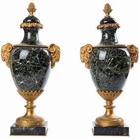 Французские мраморные вазы в стиле Ампир, 44 см