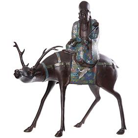 """Большая старинная скульптура клуазоне """"Мудрец верхом на олене"""", 66 см"""