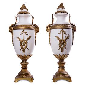 Белые мраморные вазы CARRARA, 51.5 см