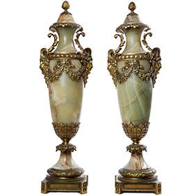 Мраморные вазы в зелёных тонах, 64 см