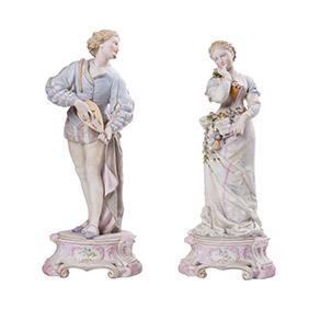 Парные статуэтки мануфактуры Triebner, Ens & Eckert, 35.5 см