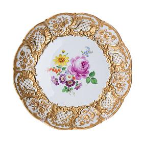 Фарфоровое блюдо Meissen с цветами, 28.5 см