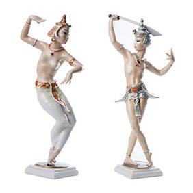 """Парные статуэтки HUTSCHENREUTHER """"Восточные танцоры"""", 30.5 см"""