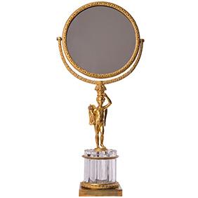 Французское настольное зеркало из бронзы и хрусталя, 46 см