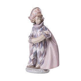 """Фарфоровая статуэтка Lladro """"ARLEQUIN CONCERTINA"""", 18 см"""