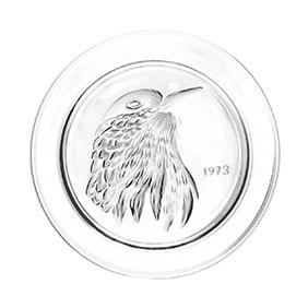 """Коллекционная хрустальная тарелка Lalique """"1973 год"""", 21 см"""