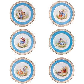 Фарфоровый сет из 6-ти коллекционных тарелок в стиле SEVRES, 24 см