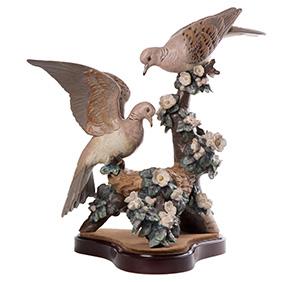 "Лимитированная скульптура Lladro ""TURTLE DOVE NEST"", 47.5 см"