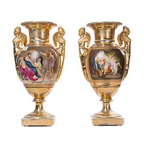 Позолоченные парные вазы в стиле KPM, 41.5 см