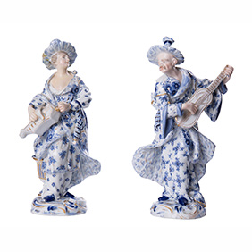 """Старинная коллекционная пара Meissen """"Малабарские музыканты"""", 18.3 см"""