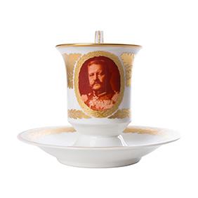Чайная пара KPM с портретом Paul von Hindenburg, 11.5 см