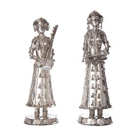 """Пара серебряных статуэток """"Музыканты"""", 1219 грамм"""