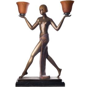 Большая бронзовая лампа в виде женской фигуры, 82 см