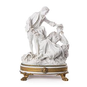 Бисквитная скульптура SEVRES в бронзовой оправе, 34 см