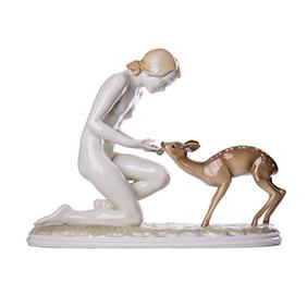 Изящная фарфоровая скульптура HUTSCHENREUTHER в стиле ART-DECO, 25 см
