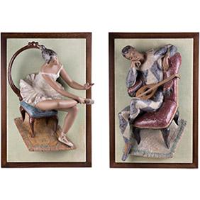 """Два большие фарфоровых панно Lladro """"БАЛЕРИНА и АРЛЕКИН"""", 64х43 см"""