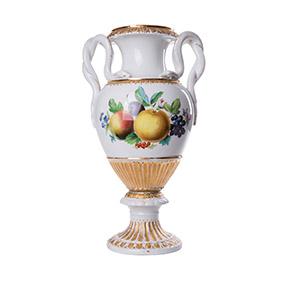 Небольшая ваза Meissen с фруктами и ручками в виде змей, 27 см