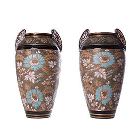 Пара английских ваз DOULTON LAMBETH с декоративными ручками, 27.5 см