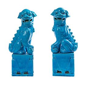 Пара китайских бирюзовых собак FOO, 25.5 см