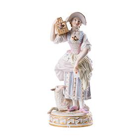 """Статуэтка Meissen """"Дама с птицей и овечкой"""", 18 см"""