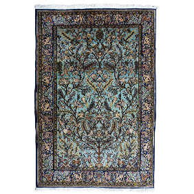 Персидский ковер из Кума лазурных оттенков, 210х144 см
