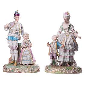 """Большие парные скульптуры """"Галантная пара с детьми"""", 34 см"""