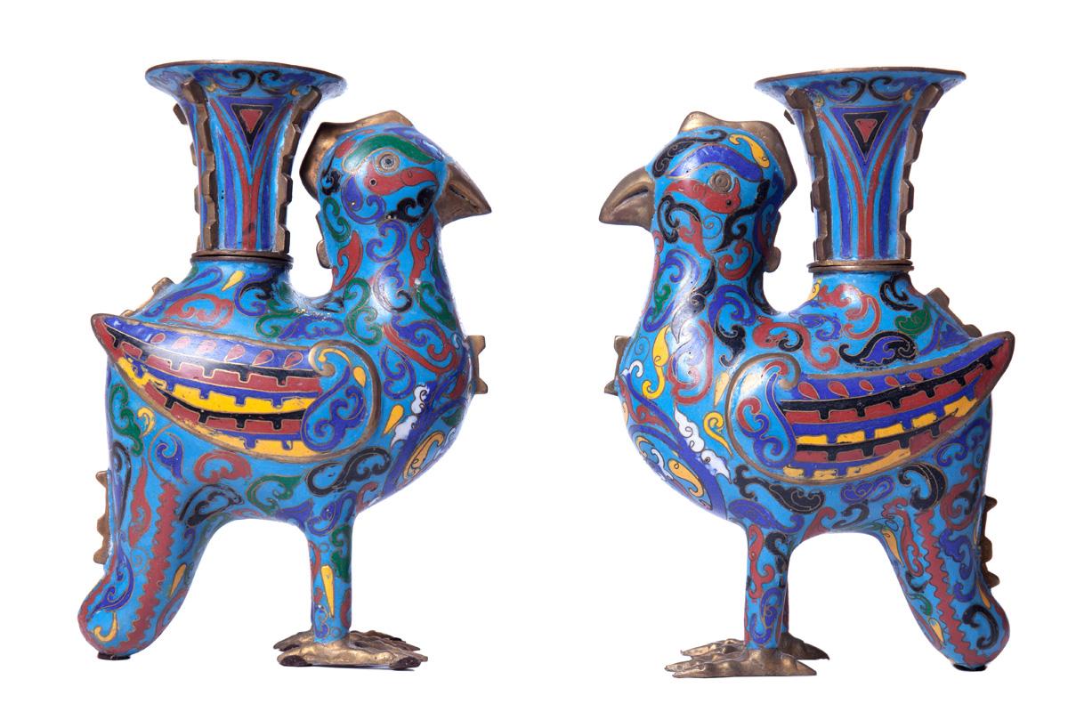 Пара подсвечников в форме птиц, 24.5 см